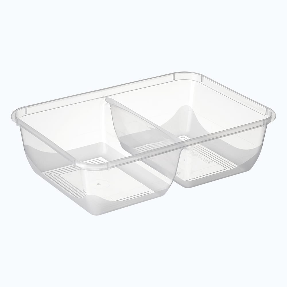 BetterSelection® PP Rectangular 2-Compt. Container