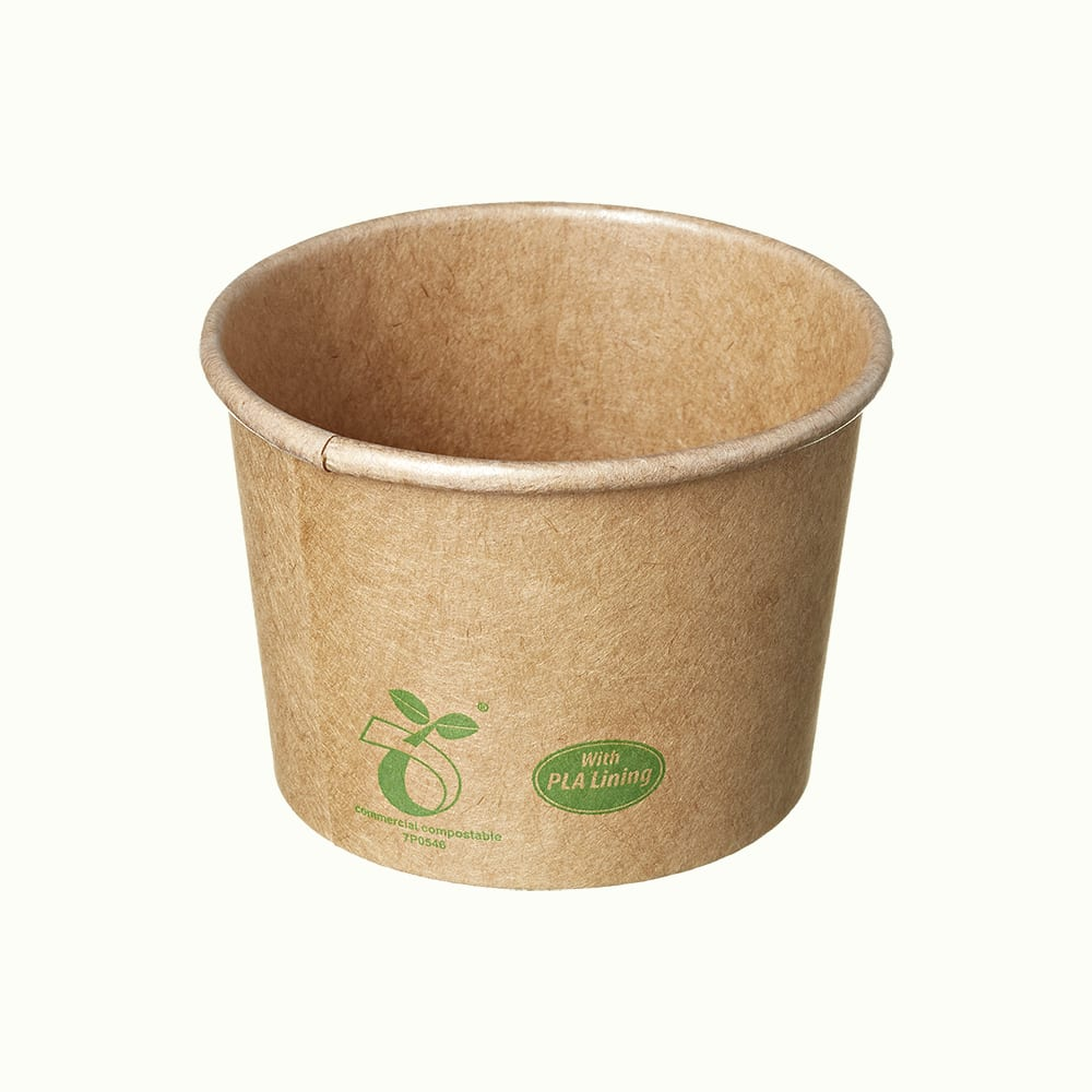 CraftWare<sup>TM</sup> Kraft Round Containers With Compostable Icon