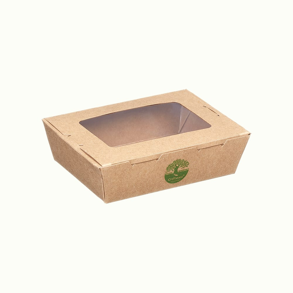 CraftWare™ Kraft Window Meal Boxes with Green-tree Graphic