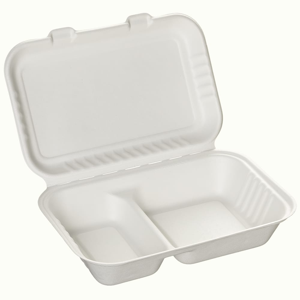 BioChoice<sup>TM</sup> Sugarcane Hinged Lid 2-Compt. Meal Box
