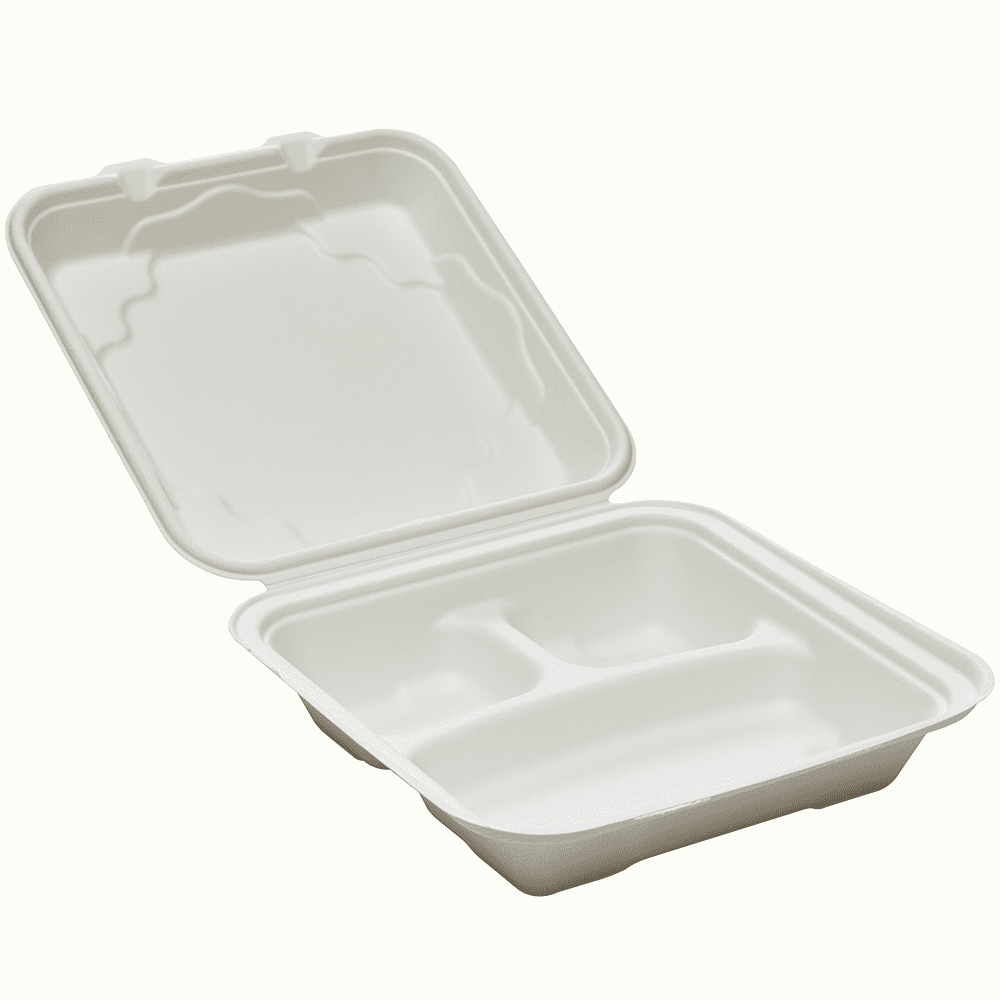 BioChoice<sup>TM</sup> Sugarcane Hinged Lid 3-Compt. Meal Box