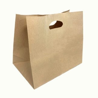 Brown paper carry bag with diecut handle